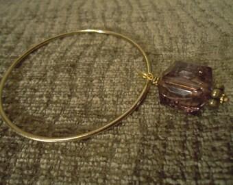 Boho Gypsy Gold Tone Charming Amethyst Pendant Bracelet