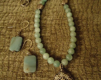 Vintage Boho Inspired Soft Robin In Blue Necklace with Earrings Set