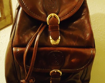 Vintage 1997  Boho Gypsy Hippie Chocolate Brown Leather Front Pocket Backpack