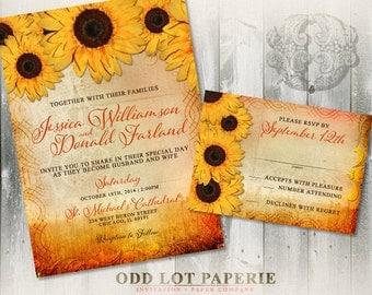 Sunflower Wedding Invitation, Rustic Wedding Invitation, Rustic Fall Wedding, Fall Wedding Invite, DIY Printable Sunflower Wedding Invite