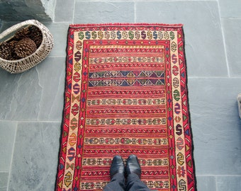Vintage Persian Soumak / Sumak Wool Area Rug FREE GLOBAL SHIPPING  - 1950's