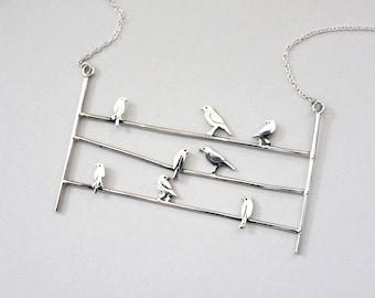 Dove bird necklace Bird necklace Bird gifts for women Bird on a wire necklace Bird gifts for mom Mom bird necklaces Nature inspired