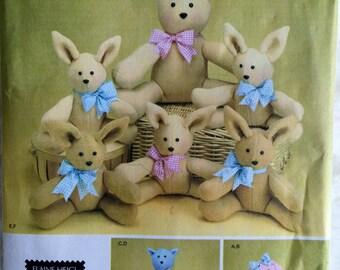 Simplicity Plush Stuffed Animals Bunny Rabbits Sewing Pattern 3779 UC FF Uncut
