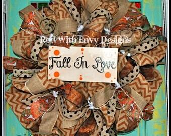 Fall Wreath, Deco Mesh Wreath, Deco Mesh,  Burlap Wreath, Happy Fall, Happy Fall Y'all
