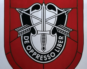 7th GROUP SPECIAL FORCES stained glass crest