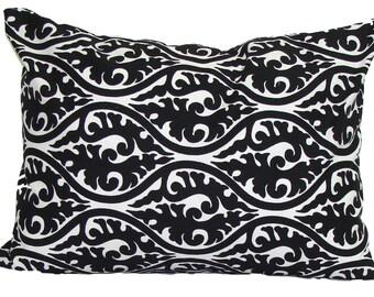 BLACK PILLOW Sale.12x16 inch Decorative Pillow Cover.Black Lumbar Pillow Cover.Black Damask Floral Cushion.Black Pillow Cover.cm