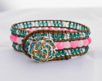 Rose Pink and Teal Beaded Cuff Bracelet Leather Cord Beaded Bracelet Artisan Women's Jewelry Summer Gifts