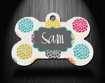 Floral Personalized Printed Pet ID Tag
