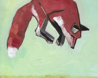Fox Jump Original Oil Painting