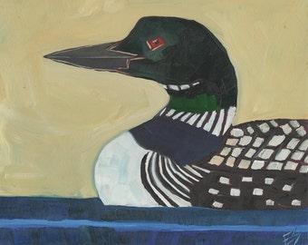Loon On Blue Original Oil Painting