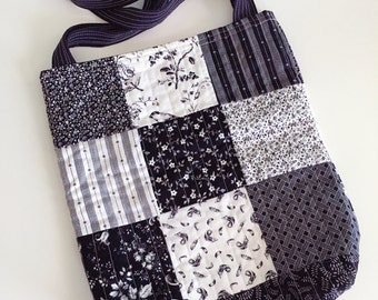 Tote Bag, Grocery Bag, Black and White, Charm Tote, Purse, Quilted Bag, Quilted Tote