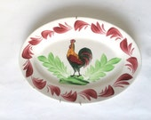 French oval serving platter dish with rooster.