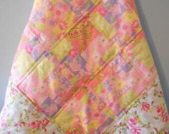 Baby Quilt, Baby Blanket, Baby Girl Quilt, Pink Roses Quilt, Handmade Baby Blanket, Baby Shower Gift,  Handmade Baby Quilt, Infant Quilt