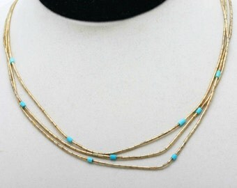 Vintage 1970's Gold Plated Liquid Silver Necklace Turquoise