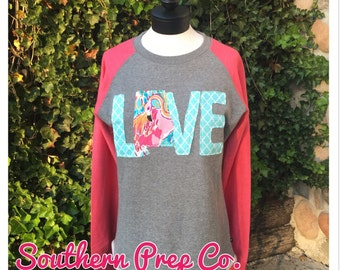State Love appliquéd Ladies Raglan Tunic Sweatshirt with Lilly Fabric ANY STATE AVAILABLE