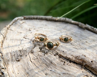 Goldfilled ring~ Wire ring, Made to any size, with natural Green Forest Jasper ~natural stones