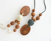 Silk & Wood Teething Necklace | Nursing Necklace | Breastfeeding | Teething Beads| New Mom Gift | Minimalist Necklace | NP34 NP39