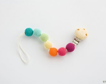 Bright Rainbow Pacifier Clip - Pure Cotton, Wooden Beads - Dummy Chain