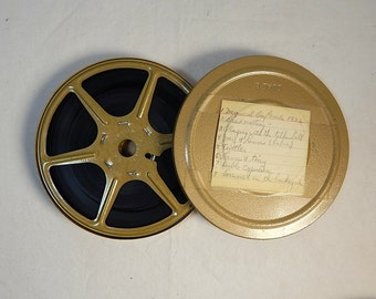 Vintage Movie Canister and Reel Dual 8 Gold 1970's with Film Home Theater Decor #1