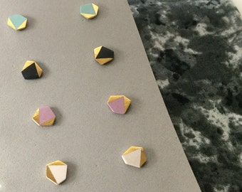 Geometric stud porcelain earrings- choose a pair, 24k gold luster, geometric post earrings 9 mm, minimalist studs, gift for her