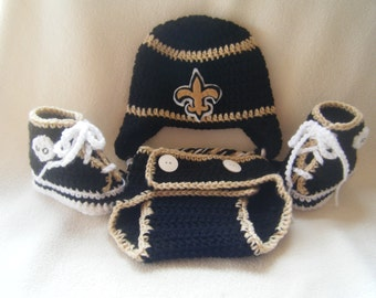 Crocheted Saints Hat, Diaper Cover & Booties Set These Are Made to Order