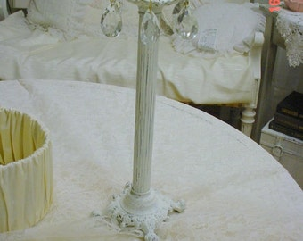 Candleholder Candlestick Prisms Painted French Country Ornate Cottage Chic