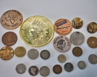 Vintage Junk Drawer Stuff USA Coins World Coins Tokens Military Wood Nickels Lot no. 97