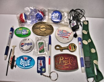 Vintage Lot 18 Pepsi Items Belt buckles Key rings Pens Pin Backs Balls Helicopter Plus