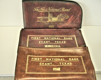 3 Vintage Bank Bags First National Bank Evant Texas Bank Bags Money Bags Texas Bank Bags
