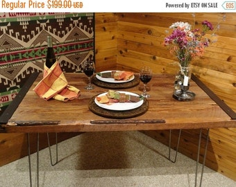 Last Chance Sale 10% OFF. Rustic Restaurant  Tables - Reclaimed Industrial style with Hairpin Legs