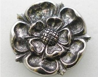 Pewter Tudor Rose Pin Badge or White Rose of York or Red Rose of Lancaster Pin Badge