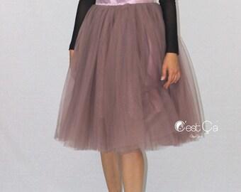 Colette - Purple Gray Tulle Skirt, Below Knee Tulle Skirt, Adult Tutu, Semi-Puffy Tulle Skirt, Bridesmaids Skirt, Bridal Skirt, Dance Skirt