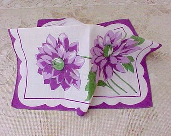 Lovely 1950's Handkerchief with Deep Plum Colored Flowers