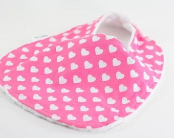 Baby Bib, Hearts Baby Bib, Pink Baby Bib, Handmade Bib, Augie and Lola Baby Bib, Snap Baby Bib