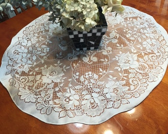 Vintage White Lace Dining Luncheon Tablecloth  by MarlenesAttic
