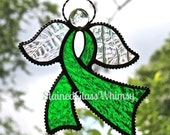 RESERVED LISTING for Jan: 3 Stained Glass Awareness Ribbon Angel Suncatchers, Jewel-Toned Emerald Green, Rainbow Iridescent Wings, USA Made