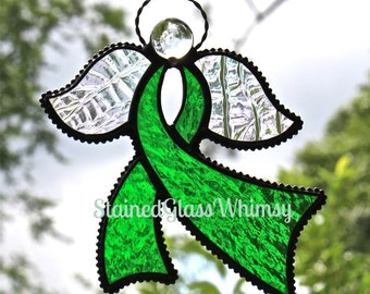Stained Glass Awareness RIBBON ANGEL Suncatcher, Jewel-Toned Emerald Green, Rainbow Iridescent Wings, USA Handmade, Green Ribbon Angel