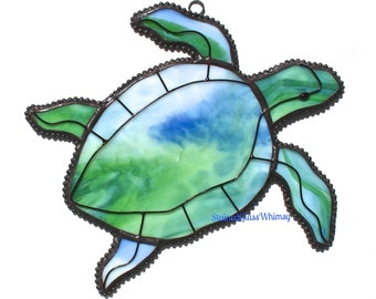 Stained Glass SEA TURTLE Suncatcher - Translucent Blues, Greens, with White - USA Handmade Original Design