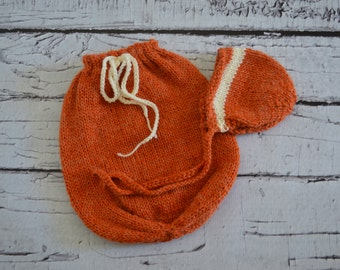 Knitted Newborn Swaddle Sack and Bonnet Set Orange and Ivory Photo Prop