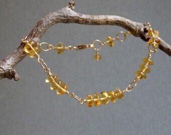 Citrine Bracelet- Birthstone Bracelet- Geek Chic- November Birthstone- Fibonacci Sequence- Golden Gemstones- 14K Gold Filled