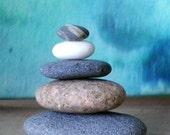 Natural Beach Stone Stack 6 Ocean Rocks Zen Stones Fountain Yoga Meditation Gift Summer Garden Zen Garden Sculpture Rock Art Balance Peace