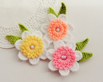 Crochet Applique Daffodil Flowers - Crochet Daffodil Brooches - Set of 3