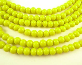 "36"" strand bright tribal yellow rounds spacers glass trade beads components"