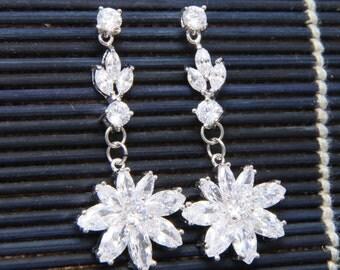 Cubic Zirconia Earrings, Wedding Bridesmaids Earrings, Bridal Earrings, Dangle Leaf Flower Stud Earrings, Christmas Gift, Birthday Gift