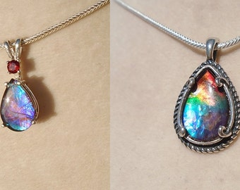 Reserved for Dillion ) Canadian Ammolite Sterling Silver Pendants
