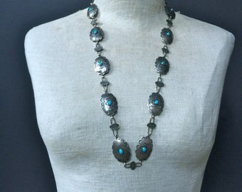 Vintage Fred Harvey Era Navajo Stamped Silver Turquoise Concho Belt Necklace Hat Band