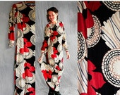 15% OFF VALENTINE SALE Vintage 70s Maxi Dress style black ivory and red flowers Psychedelic Art Nouveau Boho Dress Wool Dress