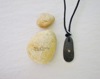 Necklace for Men - Natural Jewelry - River Stone - Urban -Organic
