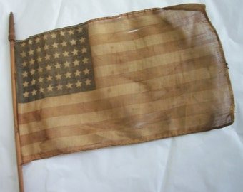 American Parade Flag 48 Stars  ~ From Collection ~ Wooden Stick Holder ~ Gold Country ~ Beautiful mellow Tone ~ Patriotic Americana Prop