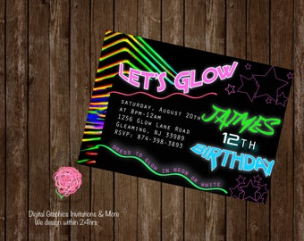 Glow Party, Glow Invitation, Neon Party Invitation, Neon Party, Neon Digital Invitations